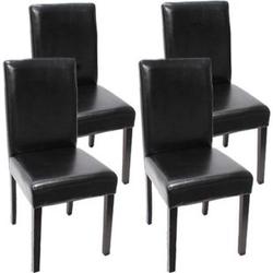 4x Esszimmerstuhl Stuhl Küchenstuhl Littau ~ Leder, schwarz dunkle Beine