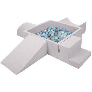 KiddyMoon Spielplatz Aus Schaumstoff Mit Quadrat Bällebad (200 Bälle) Hindernisläufen, Hellgrau:Perle/Grau/Transparent/Babyblue/Minze