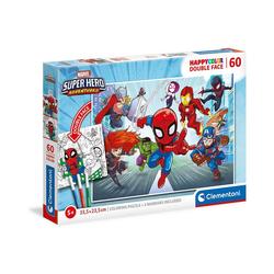 Clementoni® Puzzle Puzzle 60 Teile, Happy Color Double Face - Marvel, Puzzleteile