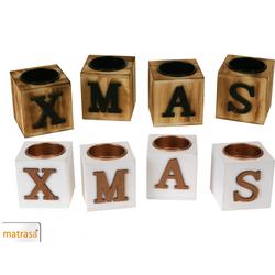 XMAS Teelichthalter - Kerzenhalter Weihnachten aus Holz