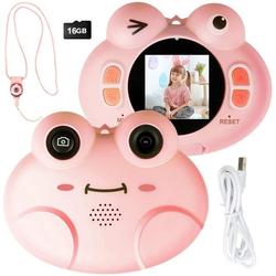 COSTWAY Kinder Digitalkamera Videokamera Kinderkamera (8MP/1080P HD, mit Cartoon-Schutzhülle, inkl. Trageband, 16GB-Speicherkarte) rosa 7.5 cm x 9 cm