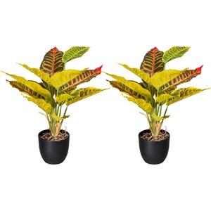 Künstliche Croton im Kunststofftopf  14 Blätter  35 cm