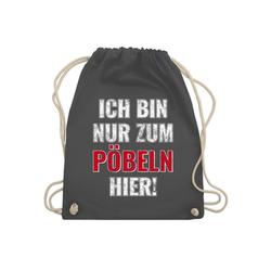 Shirtracer Turnbeutel Ich bin nur zum Pöbeln hier - Festival Turnbeutel - Turnbeutel - Jutebeutel & Taschen, schwarzer beutel spruch