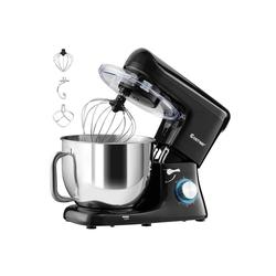 COSTWAY Küchenmaschine 1400W Küchenmaschine mit Griff, mit Griff, 7L Rührmaschine, 6 stufen Teigmaschine inkl. Schneebesen, Knethaken, Rührbesen und Spritzschutz schwarz