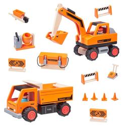 howa Spielzeug-Auto Road Works, Bagger, Kipper und 12 tlg. Zubehör aus Holz