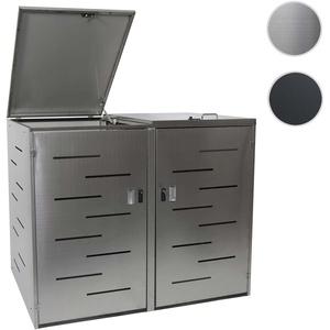 2er-Mülltonnenverkleidung HWC-E83, Mülltonnenbox Mülltonnenabdeckung, erweiterbar 108x61x76cm ~ Edel
