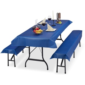 Relaxdays Bierzeltgarnitur Auflage, 3er Set, Biertisch Tischdecke 250x100cm, 2 Bierbankauflagen, abwaschbar, blau