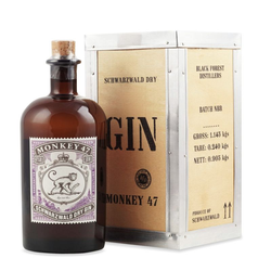 Monkey 47 Gin in Holzkiste 0,5L (47% Vol.) mit Gravur