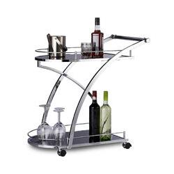Relaxdays BARON Serving Trolley, Design, Round, Metal, HxWxD: 73 x 46 x 74 cm, Kitchen Cart, Tea