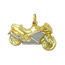 Gallay Kettenanhänger Anhänger 28mm Motorrad bicolor 9Kt GOLD