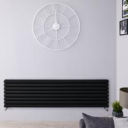 Horizontaler Designer Heizkörper 472mm x1600mm Matt-Schwarz - Revive, von Hudson Reed