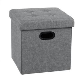 Woltu Sitzhocker, Sitzhocker Sitzwürfel Aufbewahrungsbox aus Leinen grau