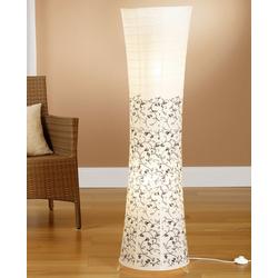 TRANGO LED Stehlampe, 1240L Design LED Stehlampe *KOS* Reispapierlampe *HANDMADE* in weiß mit floralem Motiv I inkl. 2x 5 Watt E14 LED Leuchtmittel I Form: Rund I Höhe: ca. 125cm I Wohnraumlampe I Stehleuchte I Reispapier