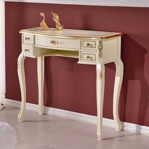 Barock Design Schreibtisch in Weiß und Goldfarben verziert fünf Schubladen