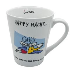 JACOBS Becher Kaffeebecher mit Henkel, HAPPY MACHT, 250 ml