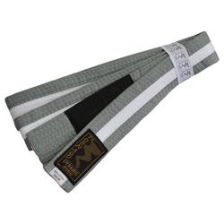 Kinder BJJ Gürtel grau-weiß m. Bar (Größe: 220, Farbe: Grau)