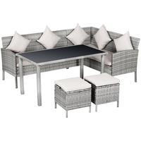 Outsunny Sitzgruppe Rattan Sitzgruppe mit Tisch