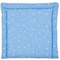 KraftKids Wickelauflage abgerundete Dreiecke weiß auf Blau, extra Weich (500 g/qm), mit antiallergenem Vlies gefüllt 75 cm x 70 cm