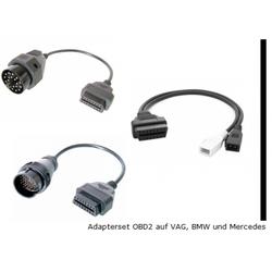 Adapterset, 3. Teilig, OBD2 auf Audi, VW, Skoda, Seat, BMW und Mercedes