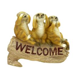 Kremers Schatzkiste Gartenfigur Erdmännchenfigur Die 3 Weisen als Welcome Schild für den Garten