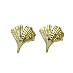 Gallay Paar Ohrstecker 375 Gelbgold Ohrringe 12mm Ginkgoblatt glänzend 9Kt