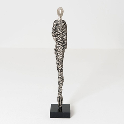Figur Mona Aluminium-Holz AntikSilber-Schwarz