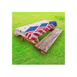 Abakuhaus Tischdecke dekorative waschbare Picknick-Tischdecke, 4. Juli Fahnen und Confettis 145 cm x 305 cm