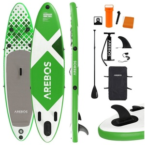Arebos SUP-Board Stand Up Paddle SUP Board Paddling Double Layer aufblasbar + Paddel, SUP Board,Surfboard, (Set, Alu-Paddel,Hochdruck-Pumpe,Transportrucksack), ALU-Teleskoppaddel,Transportrucksack,Fußschlaufe,Hochleistungs-Standpumpe mit Manometer,Reparaturkit grün 320
