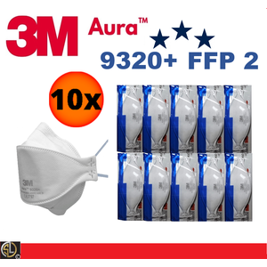 10er Pack 3M Aura Atemschutzmaske 9320+ FFP2 FFP 2 ohne Ventil - Mundschutz