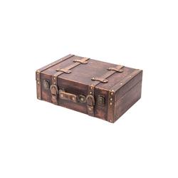 HMF Aufbewahrungsbox Vintage Koffer, aus Holz, Deko Klassik, 38 x 26 x 13 cm