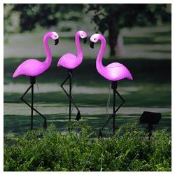 Meinposten LED Dekofigur Flamingo LED Gartenfigur Design Solarstecker 3er Set Höhe 52 cm SOLAR Sensor