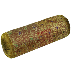 Guru-Shop Nackenrolle Patchwork Nackenrolle, Sofakissen 50 cm - gelb gelb