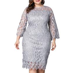 LAPA Partykleid Übergröße Damen Elegant Spitze Partykleid Langarm Abendkleid Hochzeit Ballkleid 3XL(46)