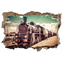 DesFoli Wandtattoo Fotografie Eisenbahn Lok Vintage D1771 bunt 90 cm x 58 cm