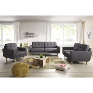 KAWOLA Sitzgruppe ALEXO 3-Sitzer 2-Sitzer Sofa Sessel Stoff anthrazit