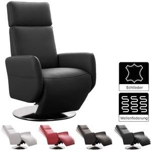 Cavadore TV-Sessel Cobra / Fernsehsessel mit Liegefunktion, Relaxfunktion / Stufenlos verstellbar / Ergonomie M / Belastbar bis 130 kg / 71 x 110 x 82 / Echtleder Schwarz