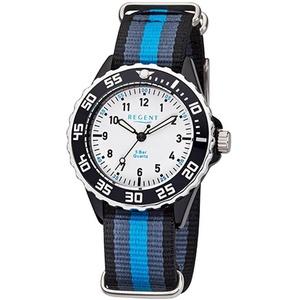 Regent Quarzuhr URBA383 Regent Kinder Jugend-Armbanduhr blau grau, (Analoguhr), Kinder Armbanduhr rund, Textilarmband blau, schwarz