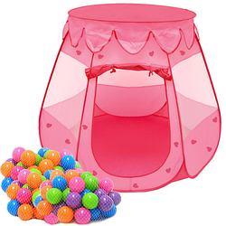 Mädchen Spielzelt mit 200 Bällebad Bällen - Kinderzelt Rosa rosa
