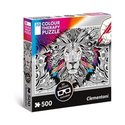 Clementoni® Puzzle Puzzle 500 Teile 3D Colour Therapy Puzzle - Löwe, Puzzleteile