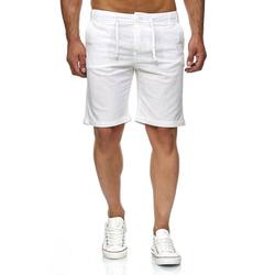 Reslad Leinenhose Reslad Leinenhose Kurze Hose Herren Leinen-Shorts kurze Männer Strandhose im Leinen-Look weiß L