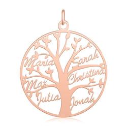 Personalisierbarer Lebensbaum Anhänger 925 Silber, rosé