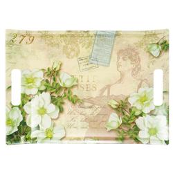 Lashuma Tablett Gardenien, Melamin, Küchentablett mit Griffen, Geschirrtablett bedruckt grün 38 cm x 27 cm x 3 cm