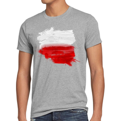 style3 Print-Shirt Herren T-Shirt Flagge Polen Fußball Sport Polska WM EM Fahne grau XL