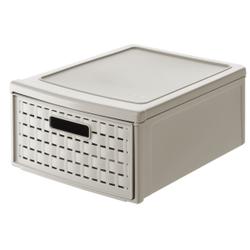 Rotho COUNTRY Schubladenbox, 8,3 Liter, Aufbewahrungsbox, Maße: 350 x 260 x 145 mm, PP-Kunststoff, Farbe: cappuccino