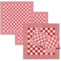 DDDDD Geschirrtuch Barbeque, (Set, Combi-Set: bestehend aus 1x Küchentuch, 2x Geschirrtuch & 2x Topflappen) rot