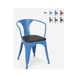 Chaises design industriel en bois et métal de style Tolix Cuisines de bar Steel Wood Arm   Bleu