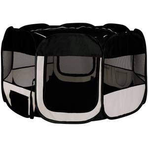 dibea Welpenauslauf aus Oxfordgewebe Freilaufgehege Tierlaufstall Farbe schwarz/beige