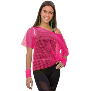 Netzshirt Netztop Damen Netz Hemd Oberteil 80s 80er Jahre Kostüm Motto Party Größe 38 - 42 - neon pink