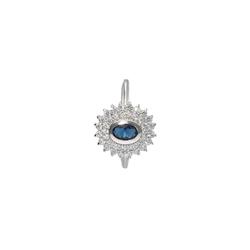 Smart Jewel Silberring mit Zirkonia und dunkelblauem Kristallstein, Silber 925 58