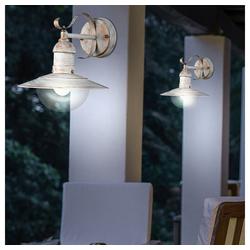 etc-shop LED Laterne, 2er Set Außen Bereich Landhaus Stil Wand Lampen gold Strahler Garten Laternen